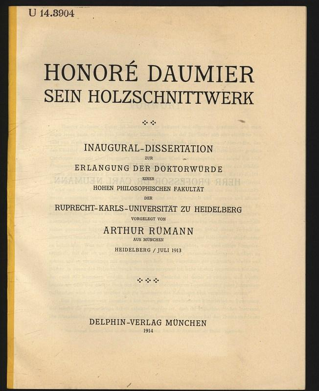 HONORÉ DAUMIER SEIN HOLZSCHNITTWERK. Inaugural-Dissertation.: RUMANN, ARTHUR,