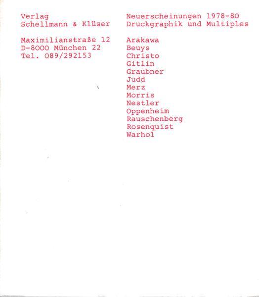 Neuerscheinungen 1978 - 80. Druckgraphik und Multiples.: Schellmann & Klüser: