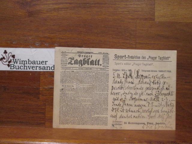 Eigenhändige Postkarte Siegfried Raabe-Jenkins Prager Tagblatt an: Raabe-Jenkins, Siegfried :
