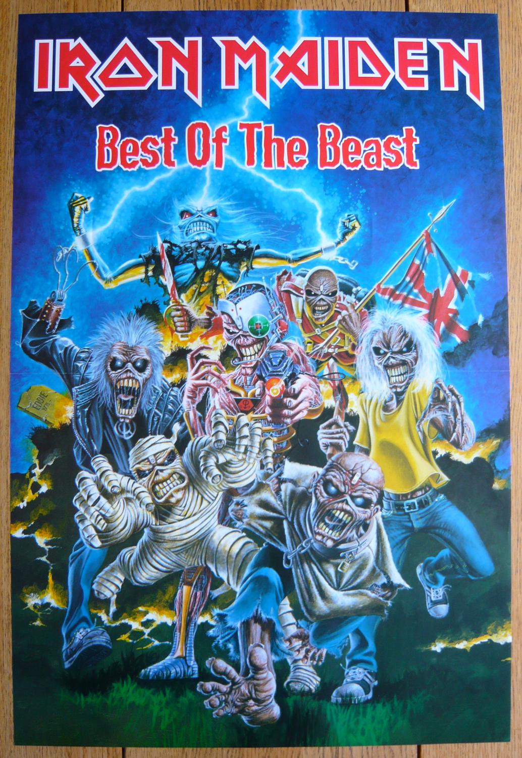 Iron Maiden Best Of The Beast Rare Original Record Company Promotional Music Poster By Iron Maiden Fine 1996 Lott Rare Books