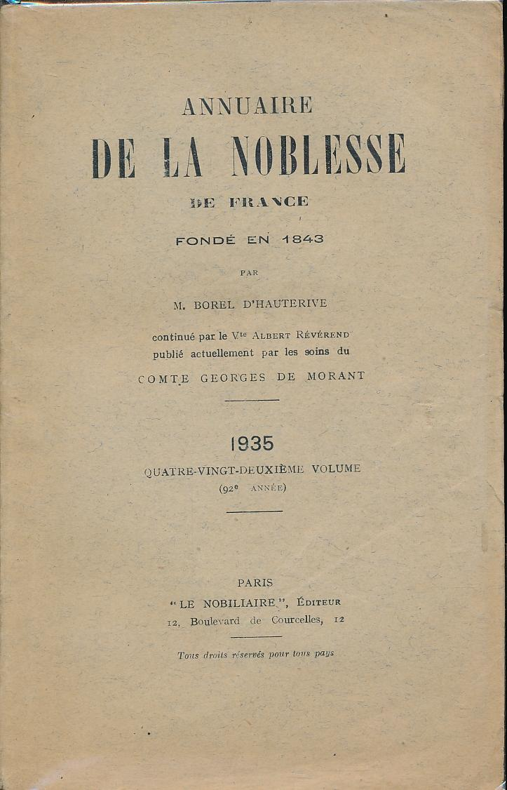 Annuaire de la Noblesse de France et: BOREL D'HAUTERIVE -