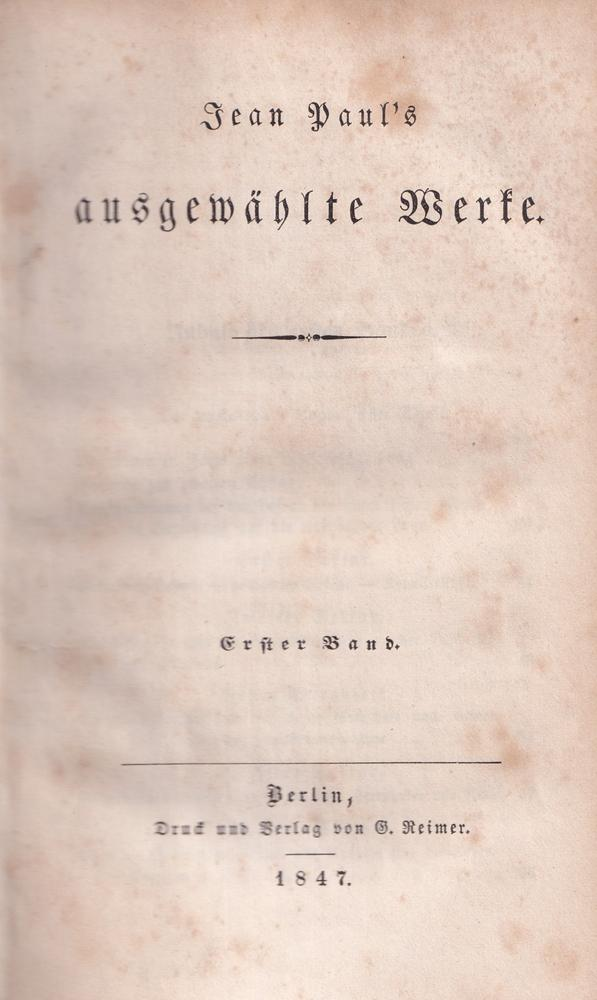 Ausgewählte Werke. 16 Bde. in 8 Bdn.: Jean Paul [i.e.