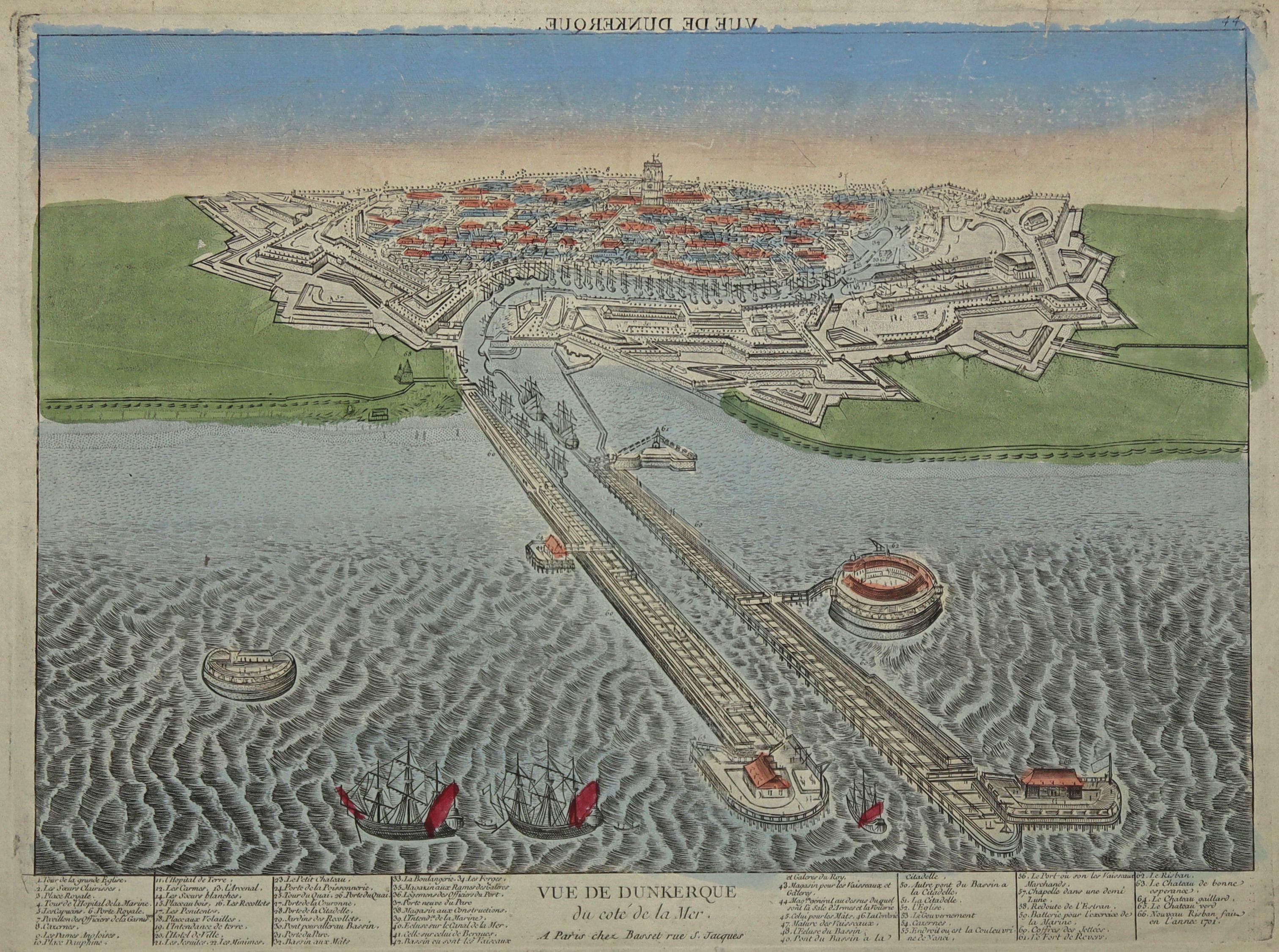 "GA aus der Vogelschau, ""Vue de Dunkerque: Dünkirchen:"