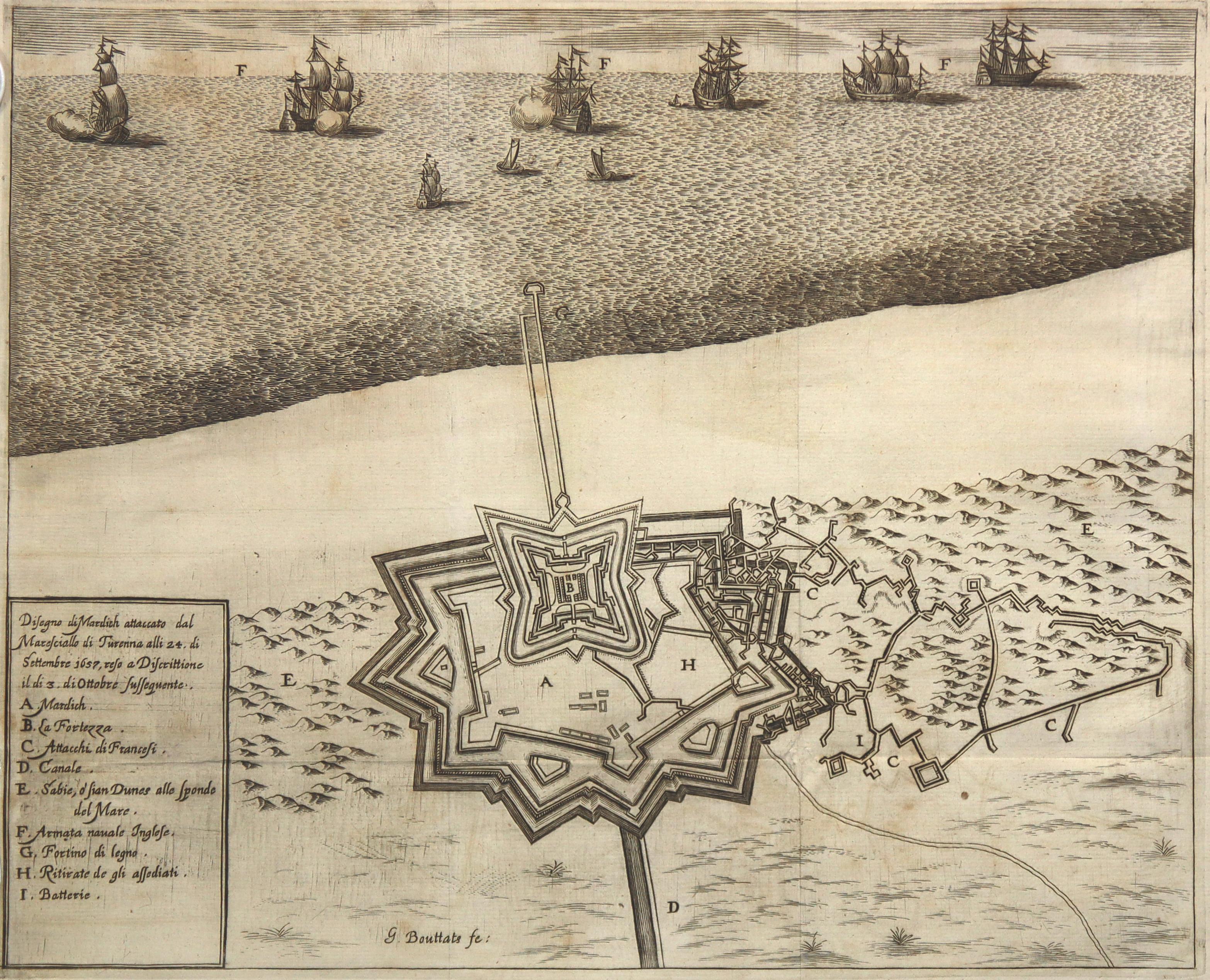 Befestigungsplan, auf dem Meer die engl. Flotte,: Mardick/B. Dünkirchen: