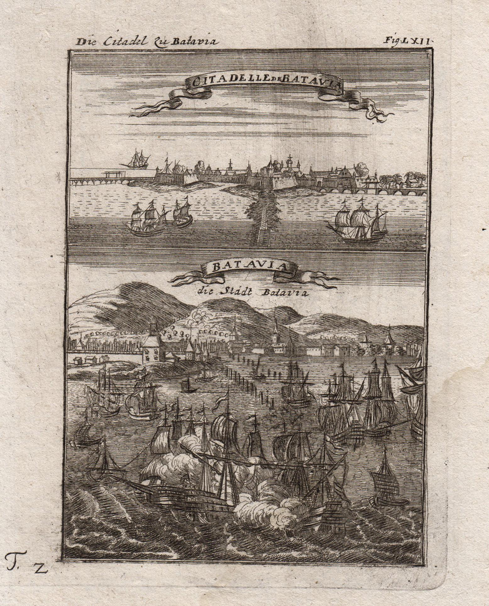 """Blick auf die Stadt """"Batavia"""", darüber Ansicht: Indonesien ( Indonesia"""