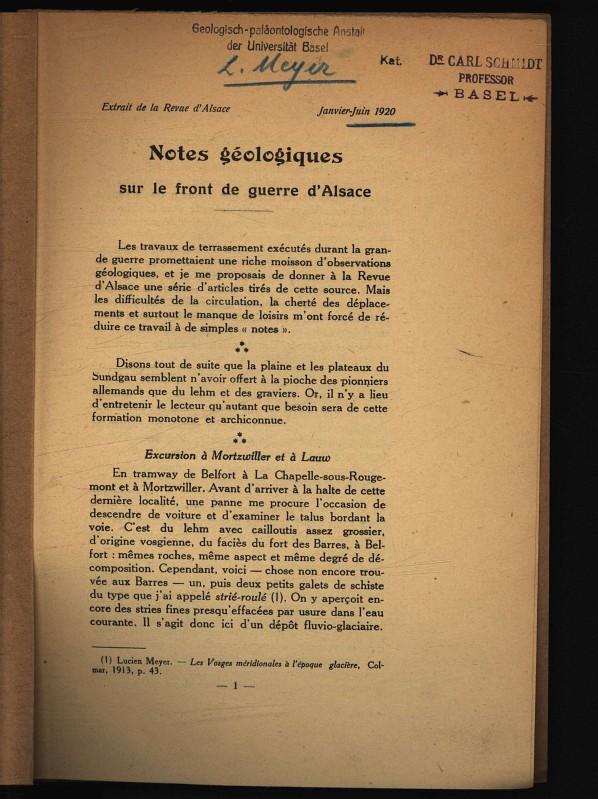 Notes geologiques sur le front de guerre: Meyer, L.,