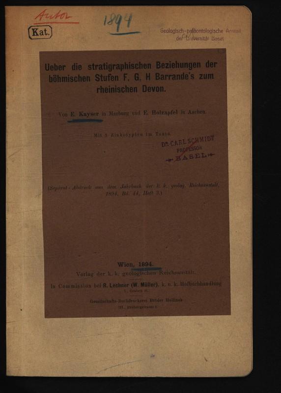 Ueber die stratigraphischen Beziehungen der böhmischen Stufen: KAYSER, E.,