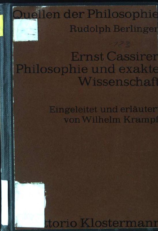 Philosophie und Exakte Wissenschaft: Kleine Schriften.: Cassirer, Ernst: