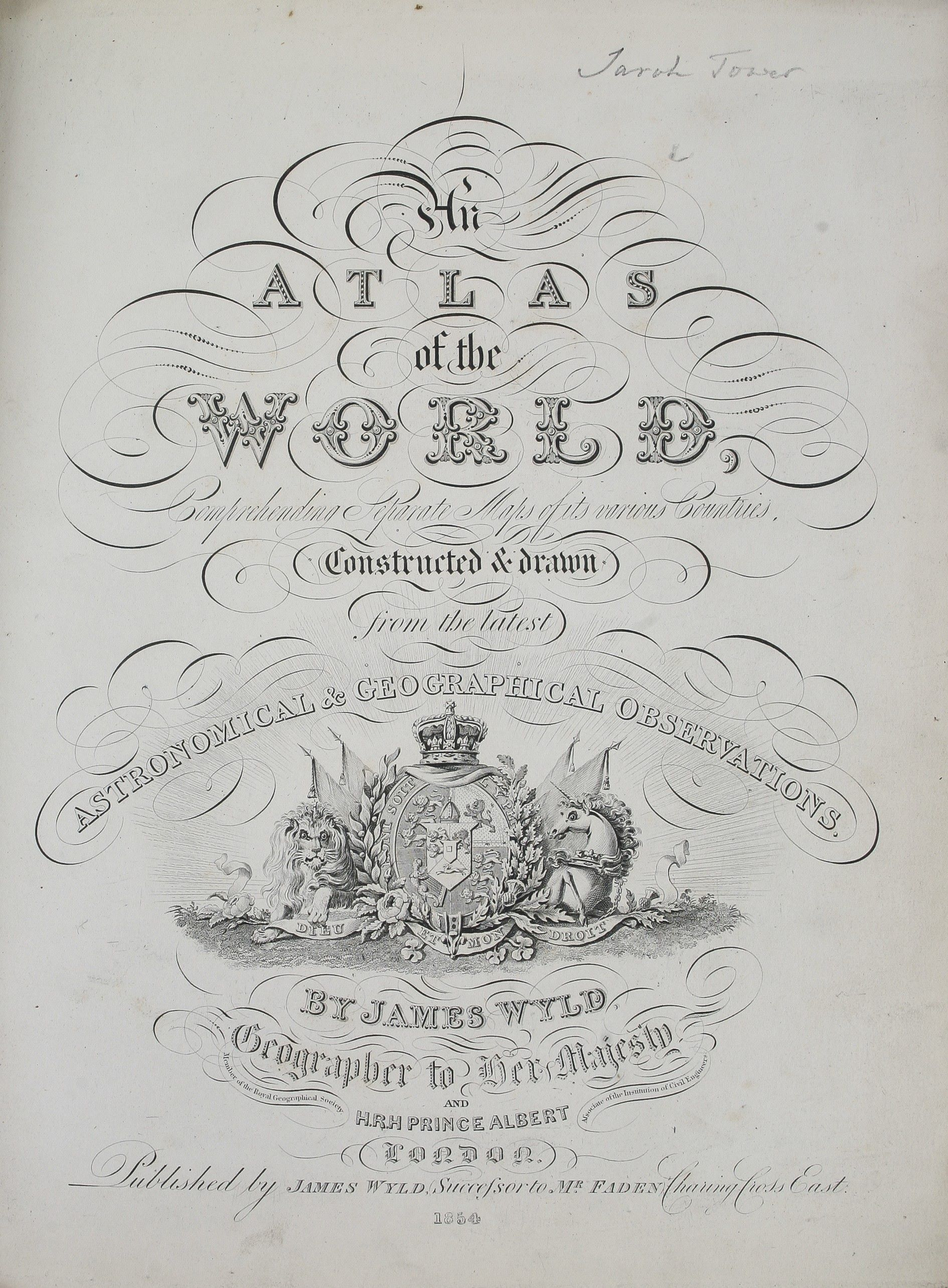 An Atlas of the World, comprehending separate: WYLD James, jr.