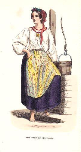 Eine Russin aus der Ukraine. Kolorierter Holzstich,: Ukraine -