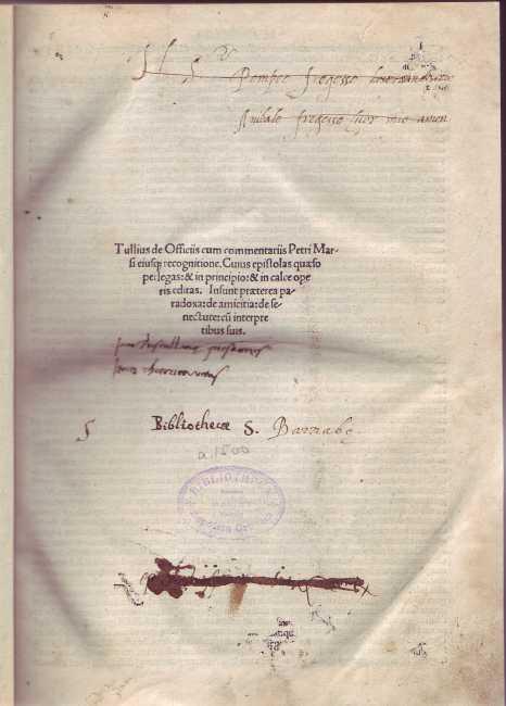 Tullius de Officiis cum commentariis Petri Marsi: Cicero: