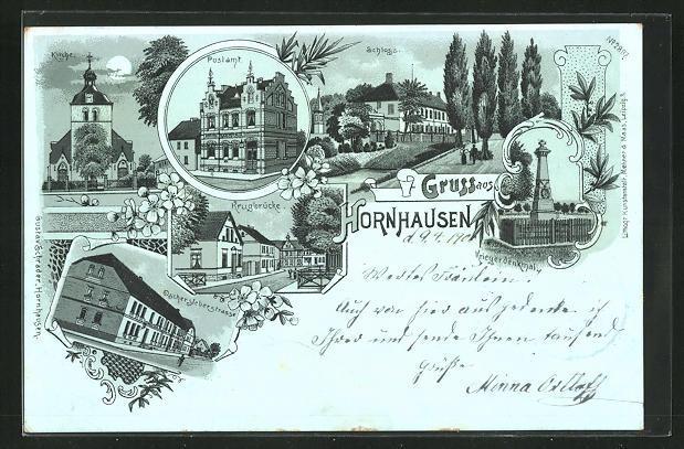 Mondschein-Lithographie Hornhausen, Oschersleberstrasse, Krugbrücke, Schloss, Postamt, Kirche