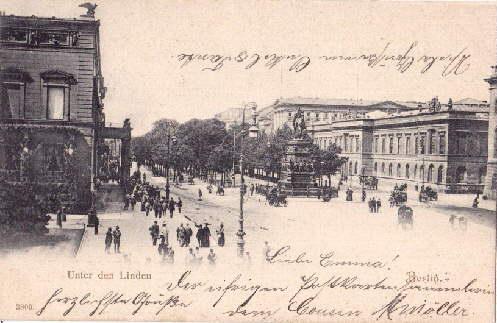 Unter den Linden. Ansichtskarte in Lichtdruck. Abgestempelt: Berlin -