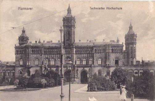 Technische Hochschule. Ansichtskarte in Lichtdruck. Abgestempelt Bahnpost: Hannover -