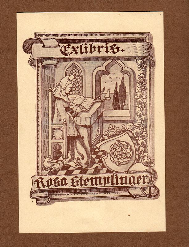 """Klischee, """"Exlibris Rosa Stemlinger"""" ca. 14,0 x: Zierer, Max (deutscher"""