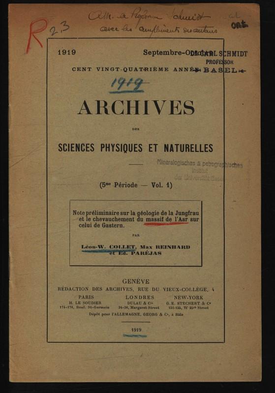 Note preliminaire sur la geologie de la: Collet, Leon-W.,