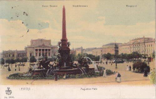 Augustus-Platz: Neues Theater; Mendebrunnen, Hauptpost: Ansichtskarte in: Leipzig -