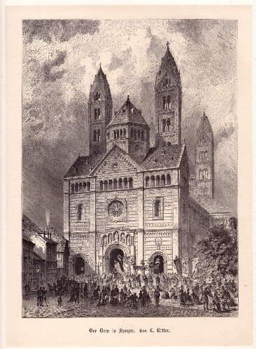 Der Dom in Speyer. Holzstich mit Tonplatte: Speyer -