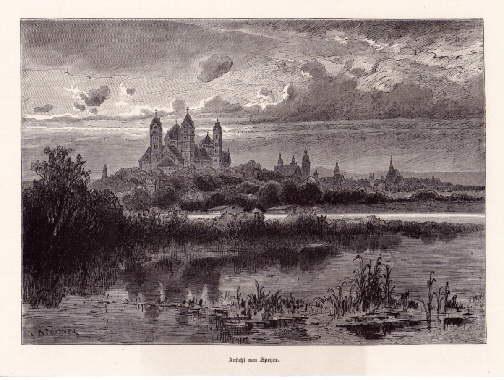Ansicht von Speyer. Holzstich nach einer Zeichnung: Speyer -
