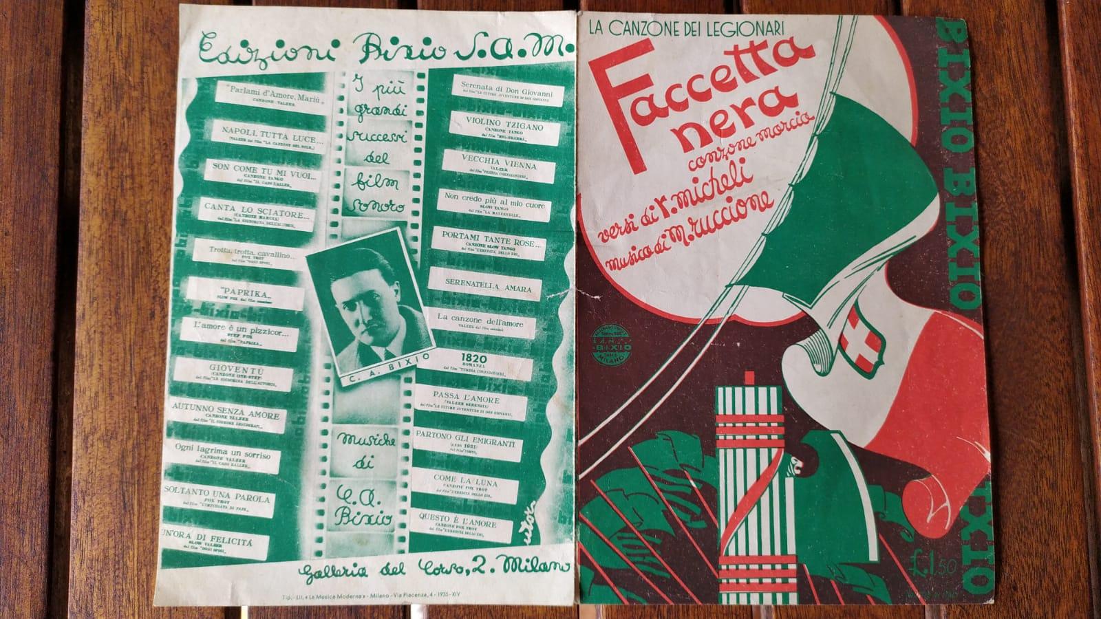 La canzone dei legionari Faccetta nera Canzone marcia da Micheli e  Ruccione: Mediocre (Poor) (1935)