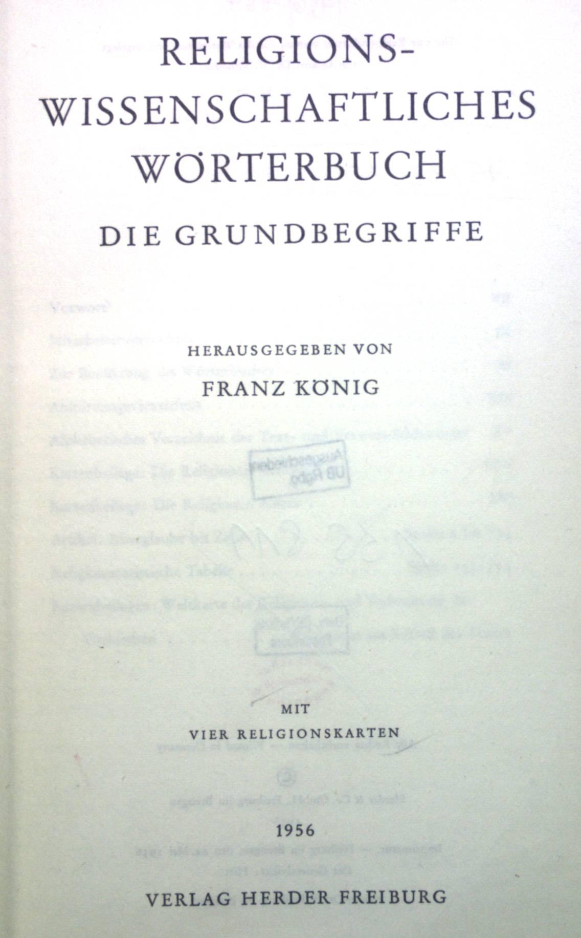 Religionswissenschaftliches Wörterbuch: Die Grundbegriffe.: König, Franz: