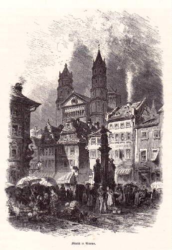 Markt in Worms. Holzstich nach einer Zeichnung: Worms -