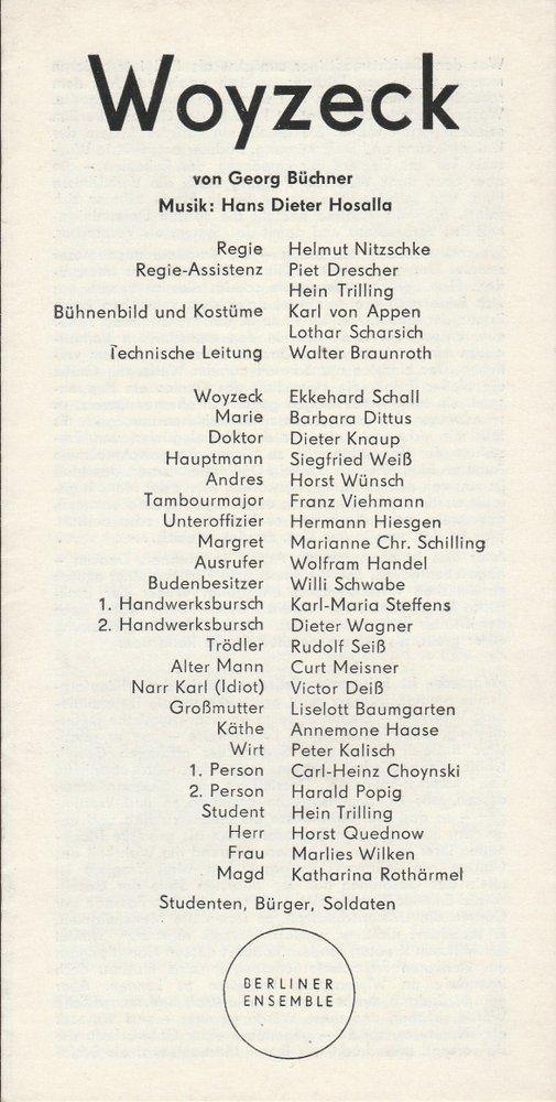 Programmheft Georg Büchner WOYZECK Premiere 4. November: Berliner Ensemble, Helene
