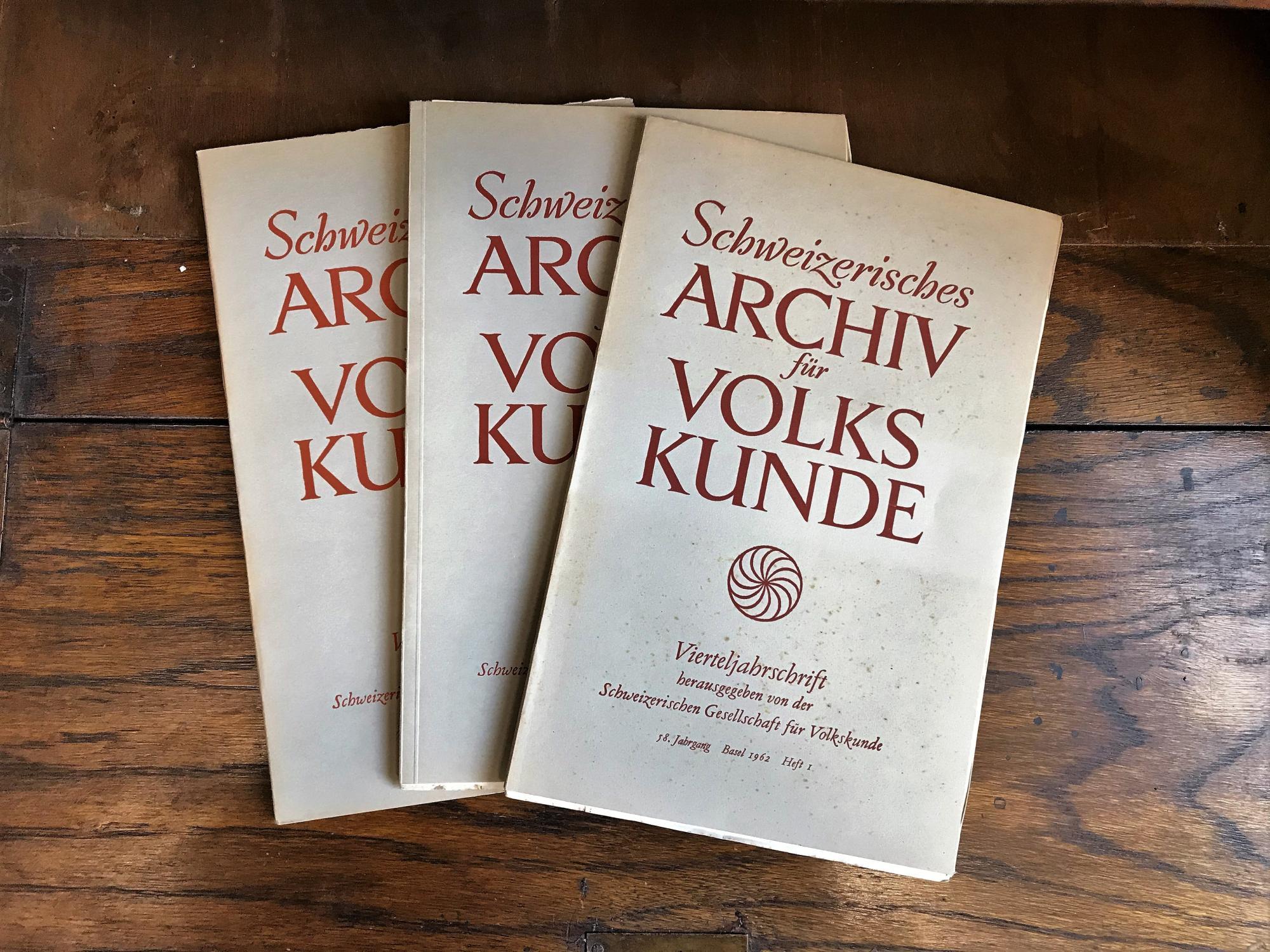 Schweizerisches Archiv für Volkskunde. Vierteljahresschrift. 58. Jahrgang: Wildhaber Robert,