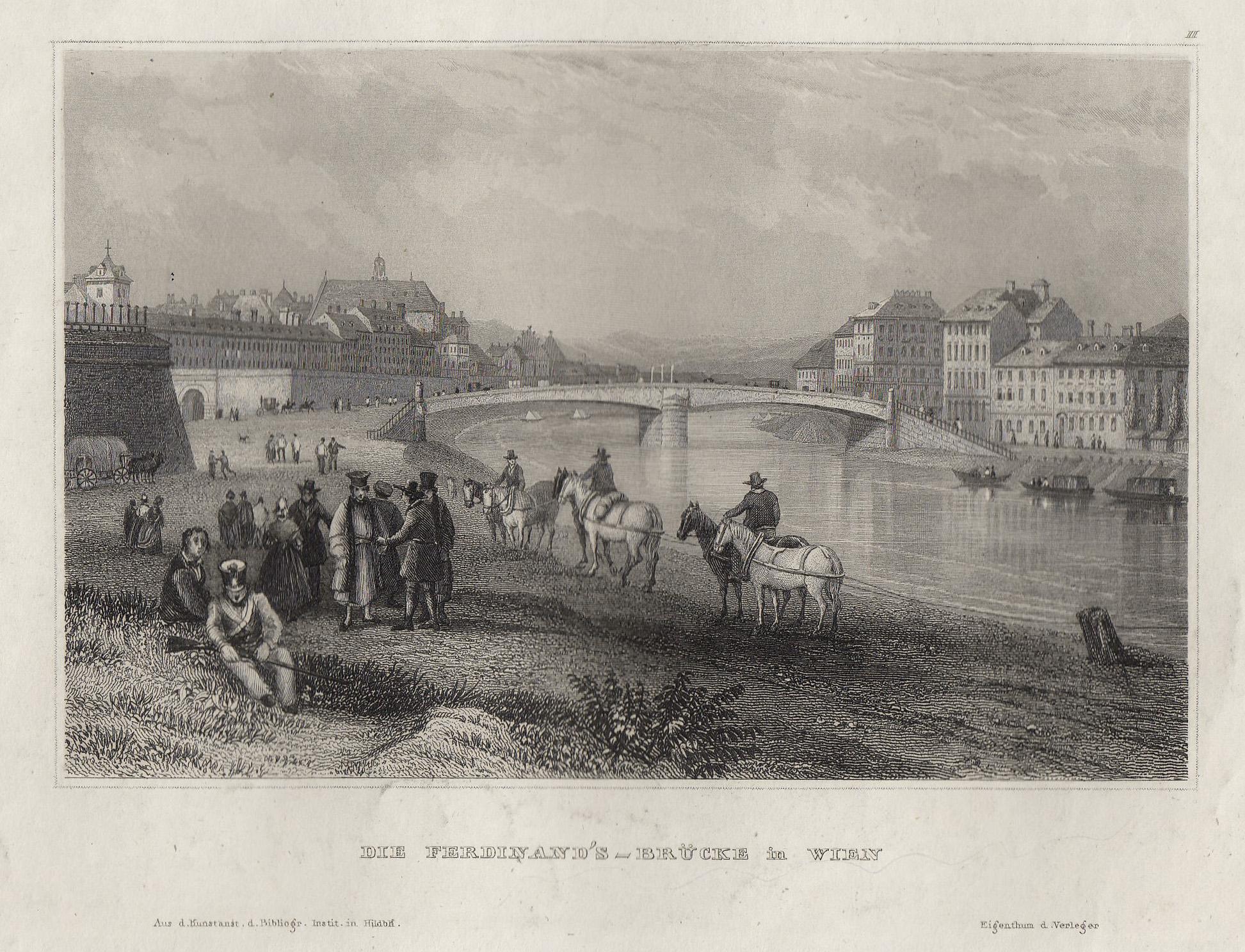TA., Schwedenbrücke ( Ferdinandsbrücke ), links die: Wien ( Vienna