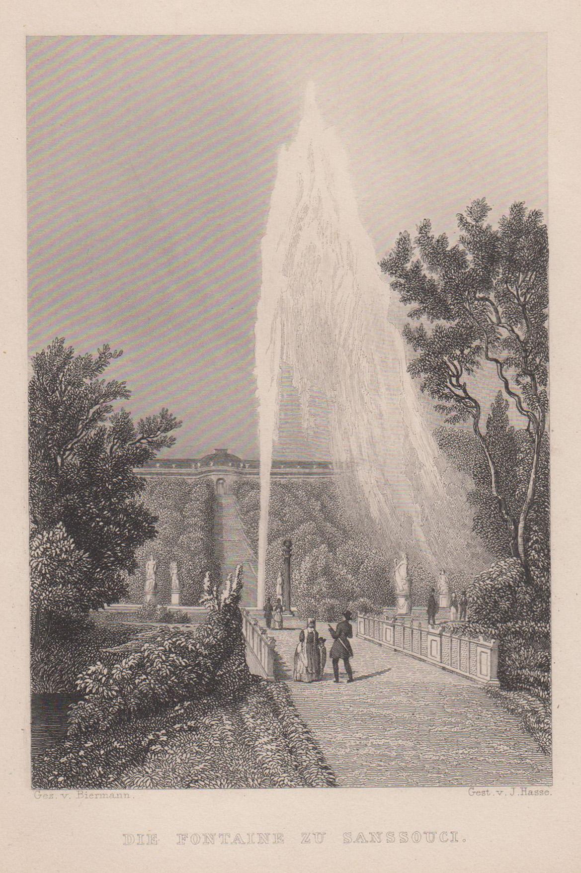 """Südseite, im Vordergrund """"Die Fontane zu Sannsouci."""".: Potsdam - Schloss"""