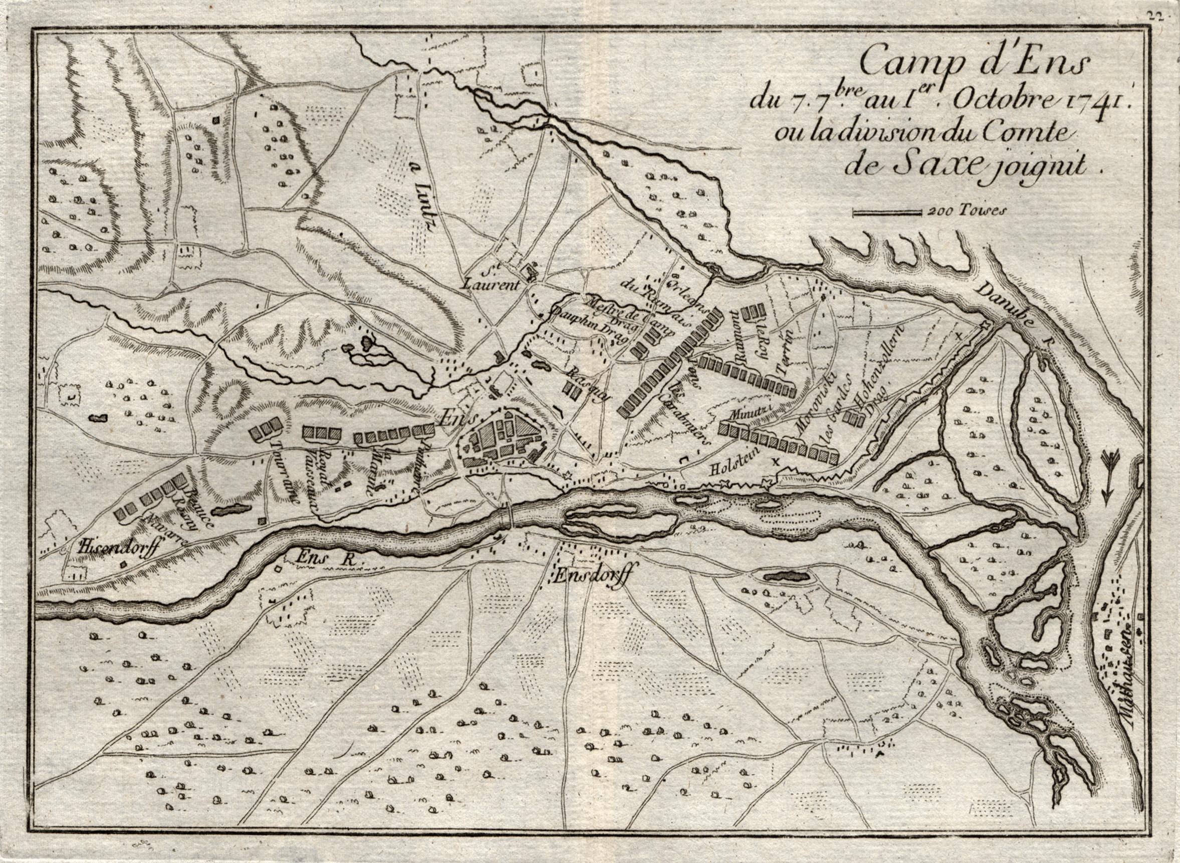 """Umgebungskarte, mit Einzeichnung der Truppenstellungen, """"Camp d': Enns:"""
