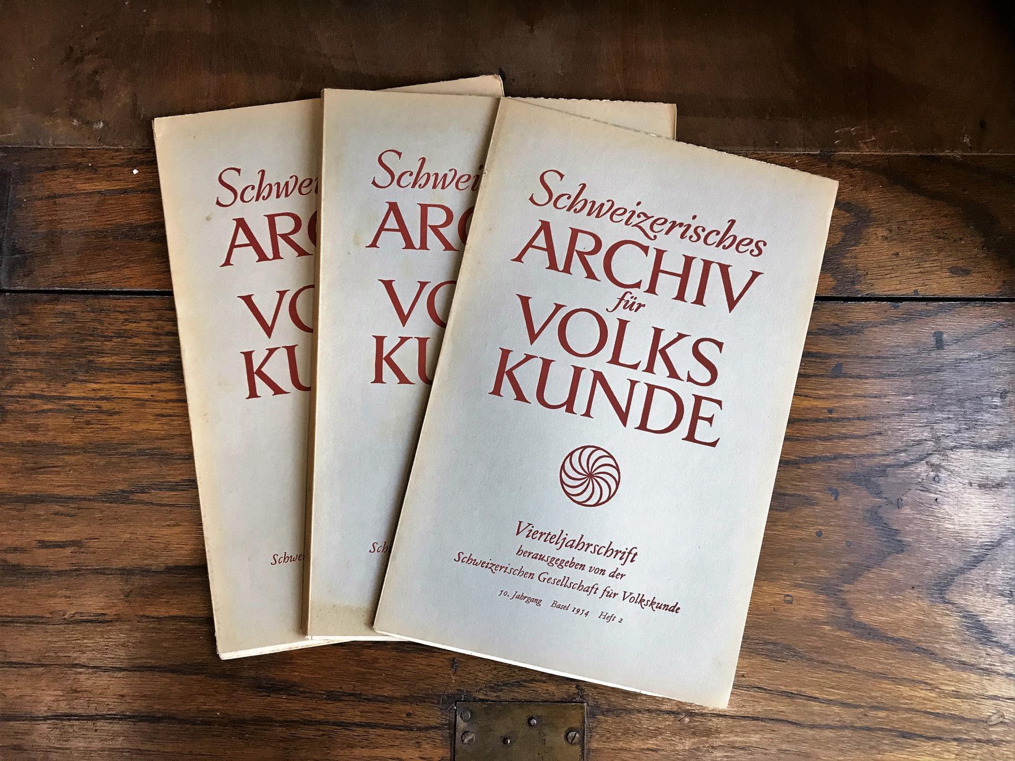 Schweizerisches Archiv für Volkskunde. Vierteljahresschrift. 50. Jahrgang: Wildhaber Robert,
