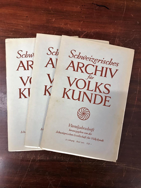 Schweizerisches Archiv für Volkskunde. Vierteljahresschrift. 57. Jahrgang: Wildhaber Robert,