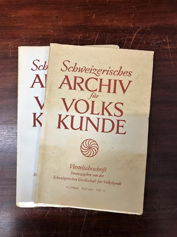 Schweizerisches Archiv für Volkskunde. Vierteljahresschrift. 62. Jahrgang: Wildhaber Robert,