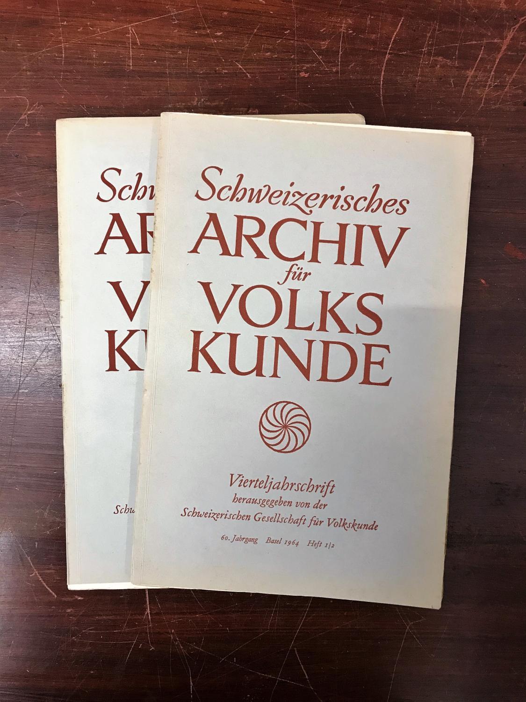 Schweizerisches Archiv für Volkskunde. Vierteljahresschrift. 60. Jahrgang: Wildhaber Robert,