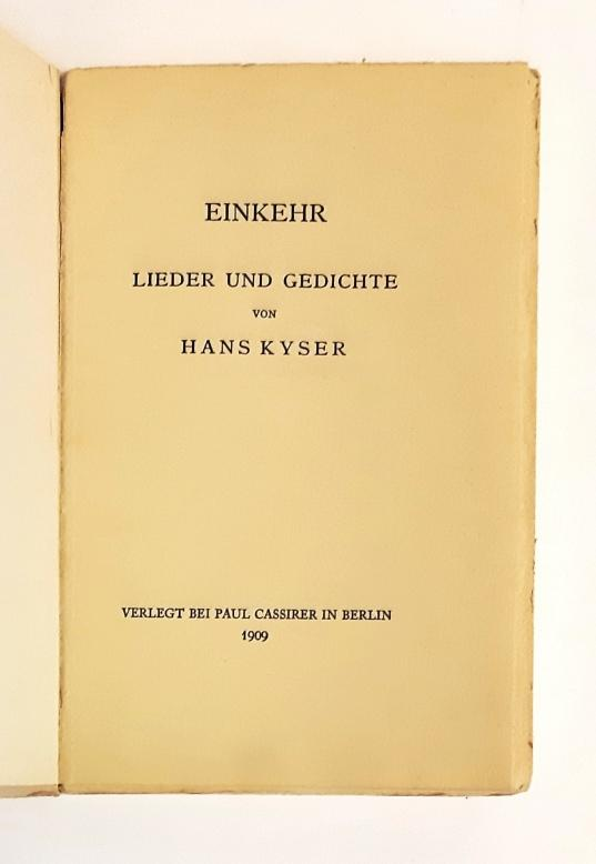 Einkehr. Lieder und Gedichte.: Kyser, Hans
