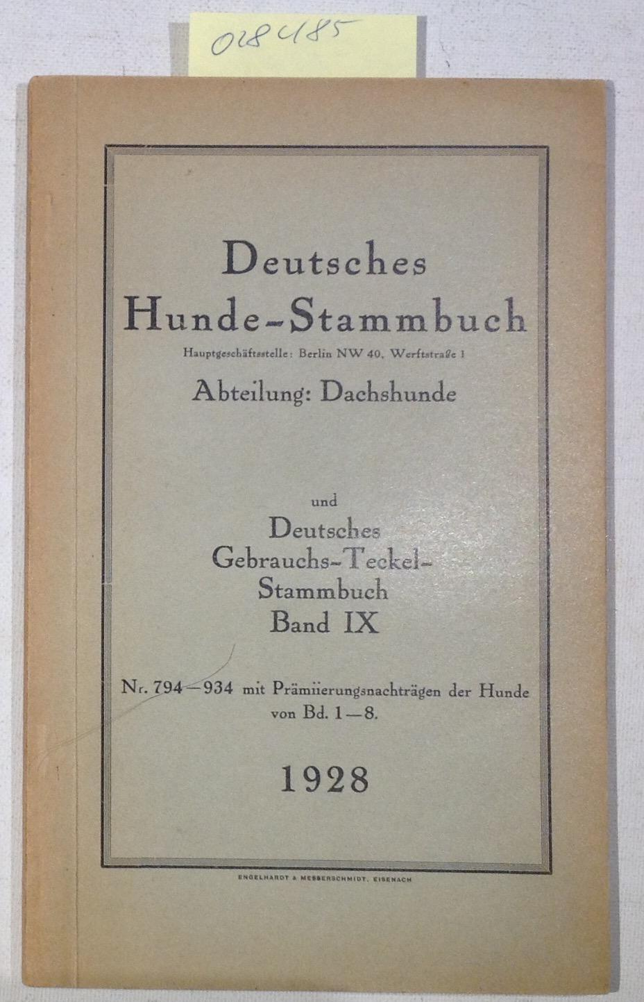 Eigenverlag. Berlin Teckel Stammbuch Band 41 Deutscher Teckelklub e.V. 1930