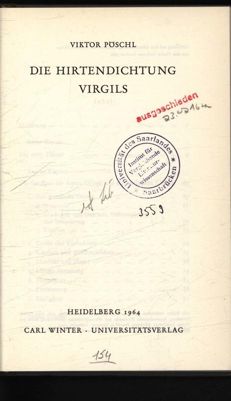 Die Hirtendichtung Virgils.: Pöschl, Viktor,