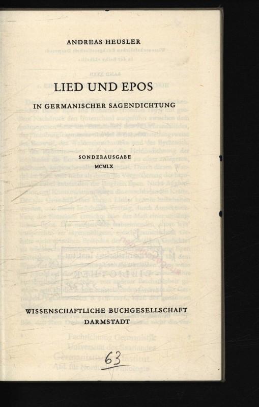 Lied und Epos in germanischer Sagendichtung.: Heusler, Andreas,