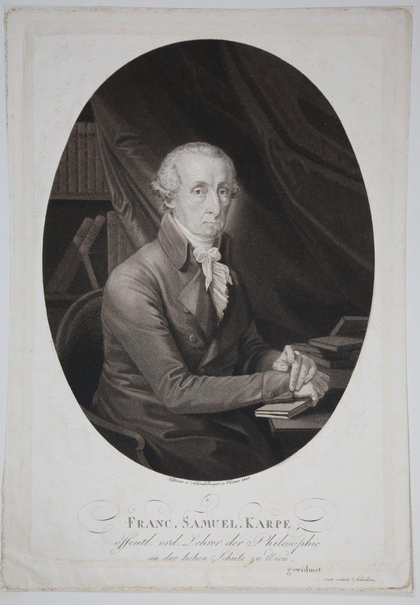 Porträt. Halbfigur nach halbrechts in Oval, sitzend.: Karpe, Franz Samuel