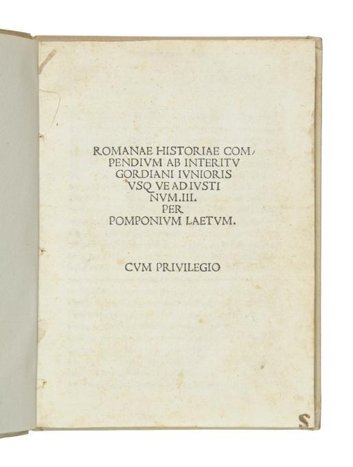 Romanae historiae compendium ab interitu Gordiani Iunioris: Laetus, Julius Pomponius.
