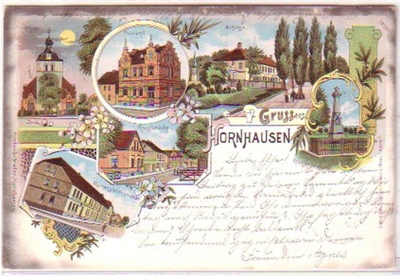 21715 Lithografie Gruss aus Hornhausen 1898: Sammeln & Seltenes