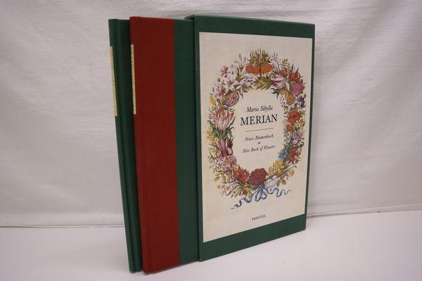 Neues Blumenbuch - New Book of Flowers (2 Bde. = cplt.). Erster bis dritter Blumen-Theil. Mit Beiträgen von Thomas Bürger und Marina Heilmeyer. Deutsch-englische Parallelausgabe. Faksimilebd.: 38 Bll., insg. 36 Farbtaf. (inkl. Titel); Begleitbd.: 95 S., zahlr. schw./w. Abbild., 33 cm x 20 cm. - Merian, Maria Sibylla