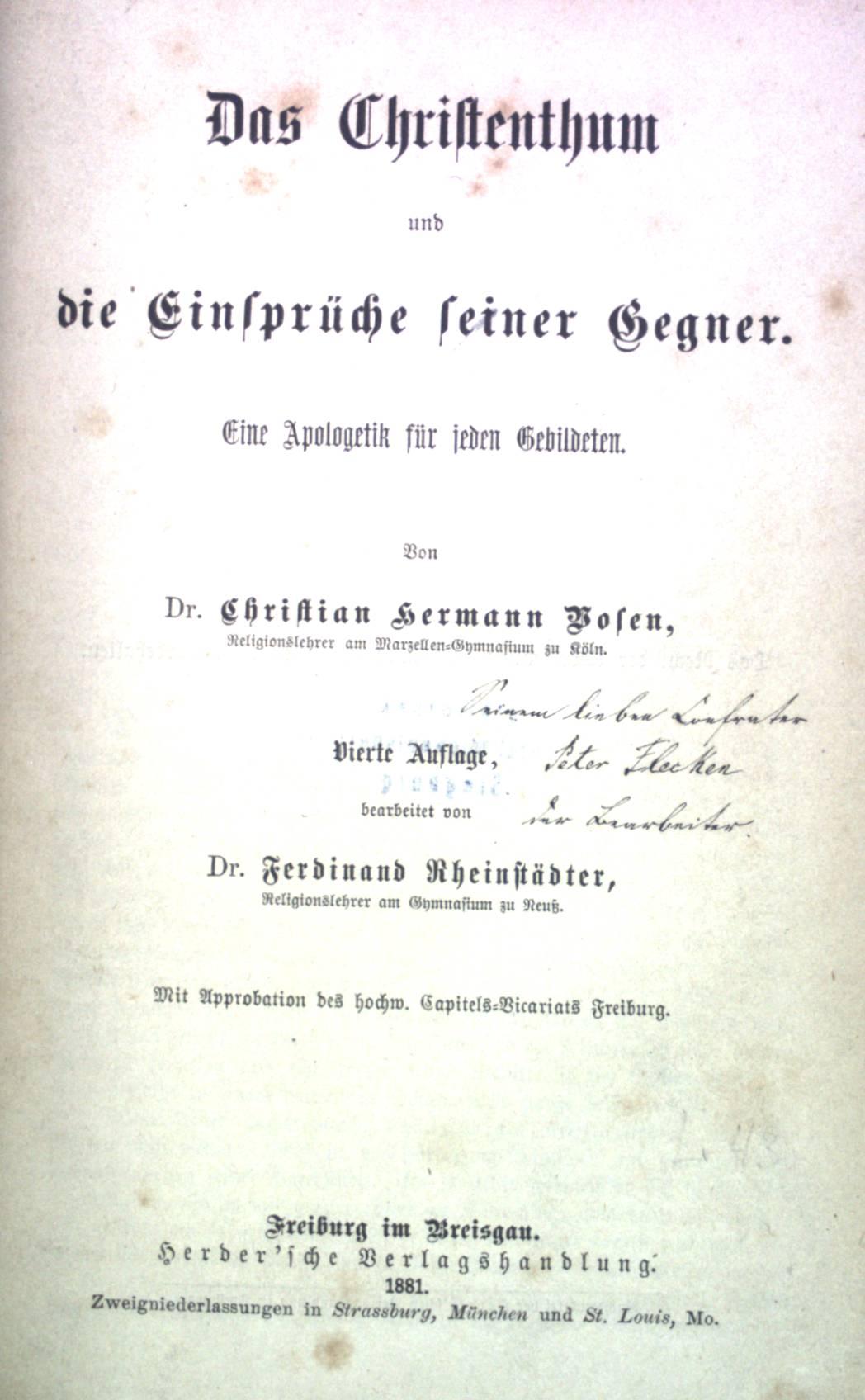 Das Christentum und die Einsprüche seiner Gegner.: Bosen, Christian Hermann: