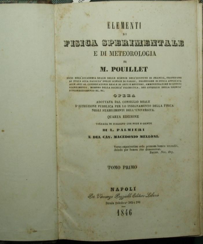 Elementi di fisica sperimentale e di meteorologia: Pouillet M.