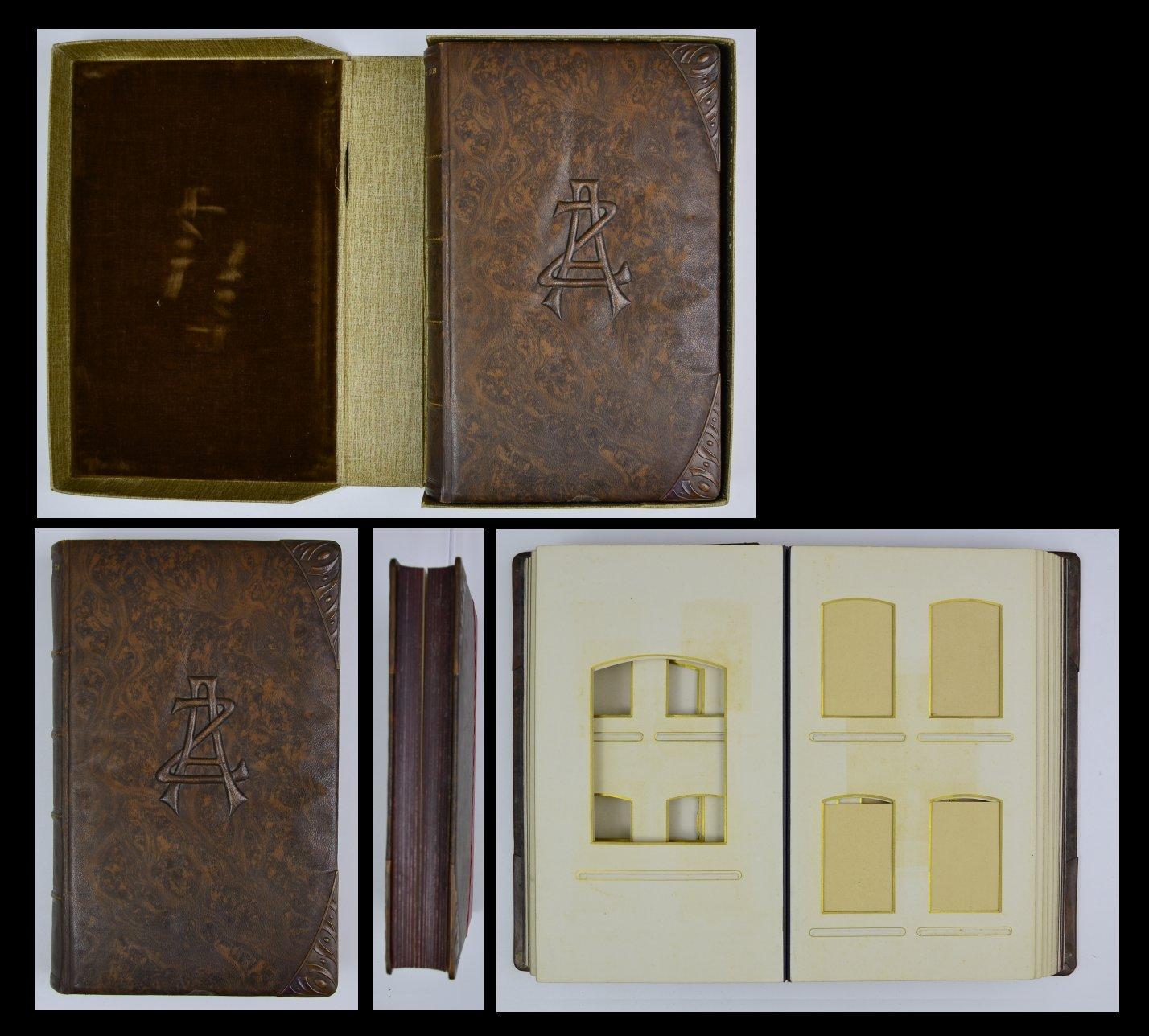 Fotoalbum 1908 Jugendstil Initialen AZ, Bronzebeschläge Ecken,