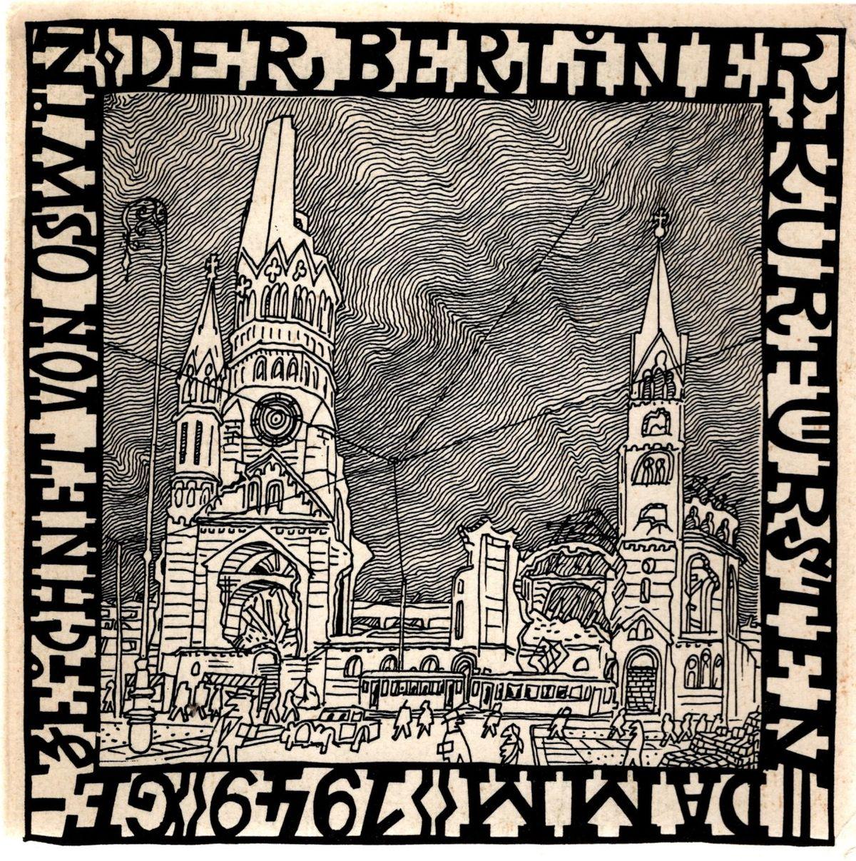 Der Berliner Kurfürstendamm 1949 gezeichnet von Oswin.: Oswin: