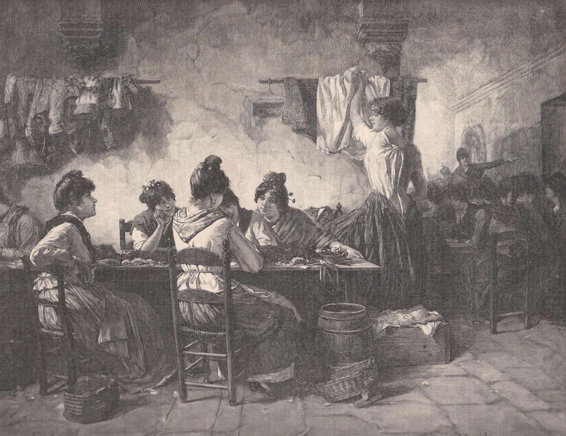 Die königl. Tabakfabrik zu Sevilla. Innere Ansicht: Tabak,