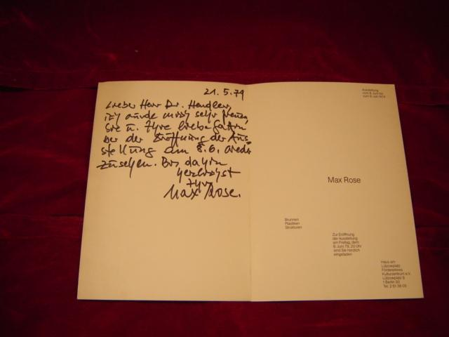 Einladung zur Ausstellungseröffnung mit handschriftlicher WIDMUNG des: Rose, Max: