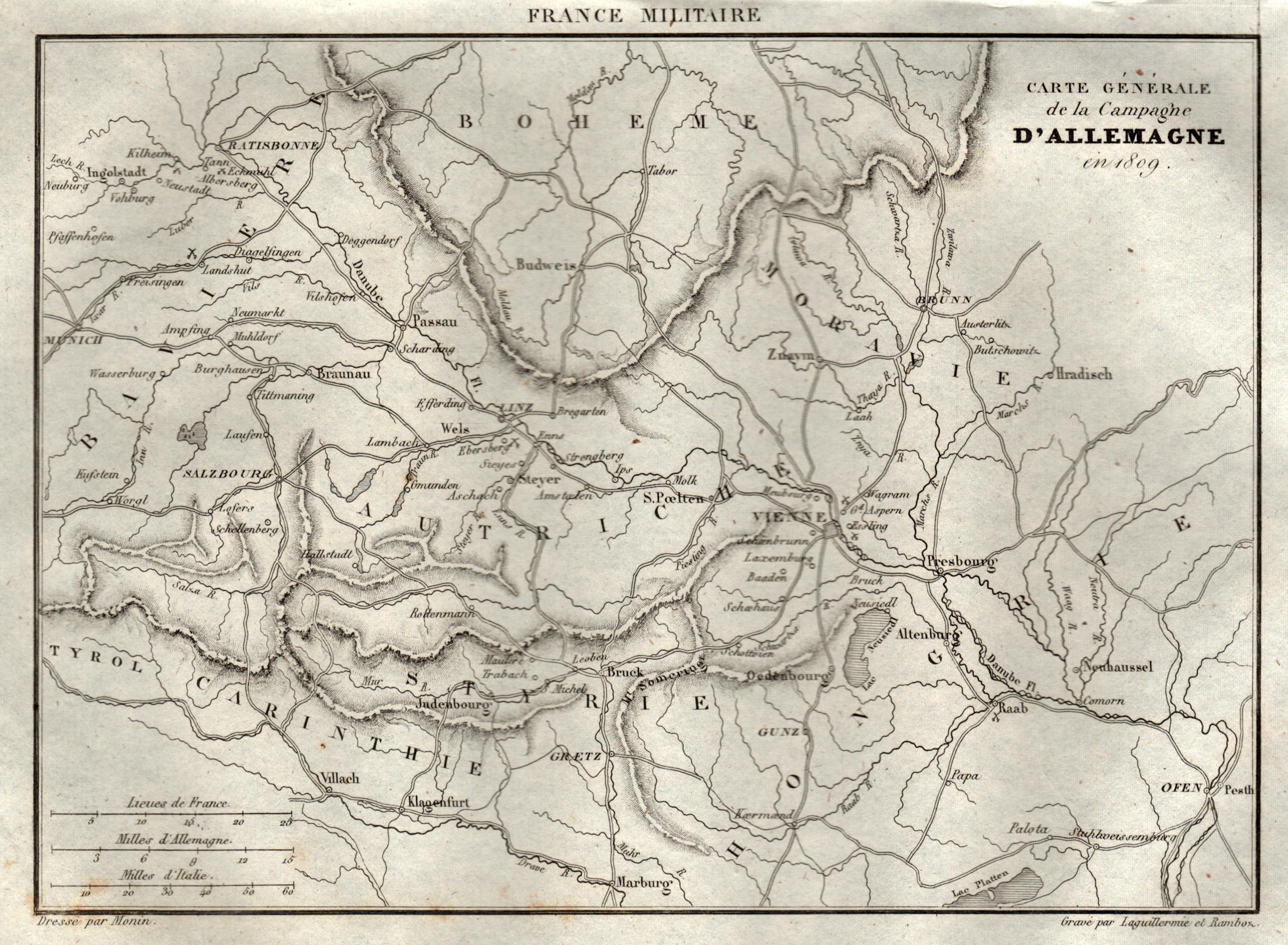 """Stst.- Karte, aus France Militaire, """"Carte Generale: Österreichischer Kreis:"""
